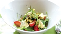 "Arugula, ""pickled"" Strawberries, Candied Pistachios And Crumbled Blue Cheese Salad by Michelle Bernstein"